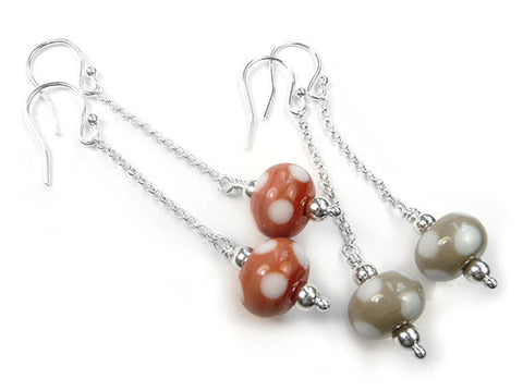 Lampwork Glass Earrings - Terracotta and Taupe Polka