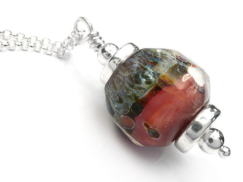 Lampwork Glass Pendant - Peach Tree