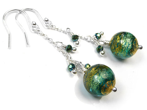 Murano Glass Bella Earrings - Aqua Verde Gold