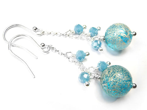 Murano Glass Bella Earrings - Aqua and White Gold