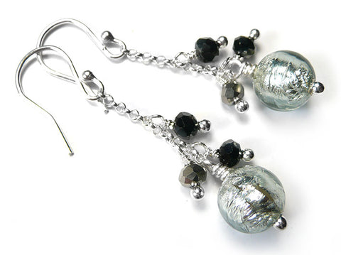 Murano Glass Bella Earrings - Black Diamond