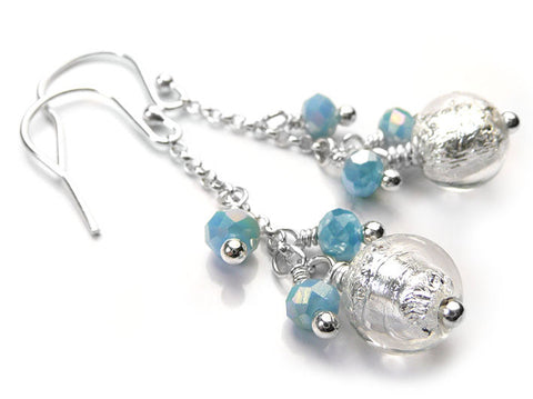 Murano Glass Bella Earrings - Crystal Aqua