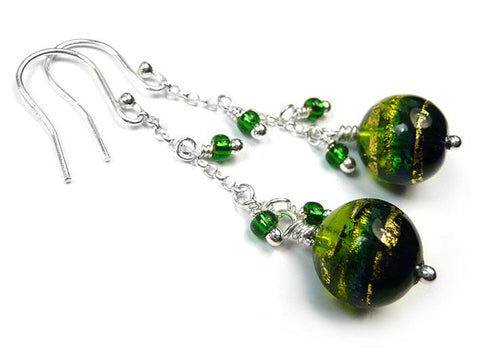 Murano Glass Bella Earrings - Peridot and Cobalt