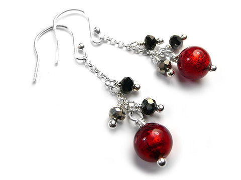 Murano Glass Bella Earrings - Ruby Graphite