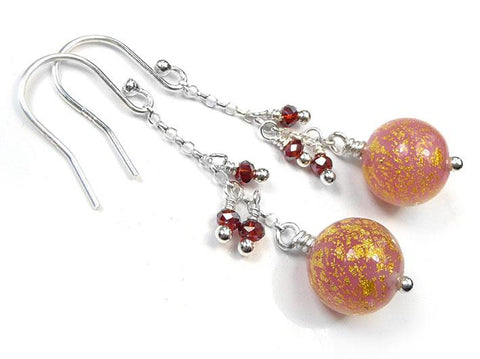 Murano Glass Bella Earrings - Salmon