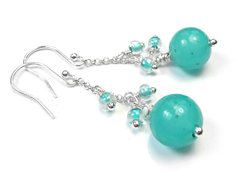 Murano Glass Bella Earrings - Teal