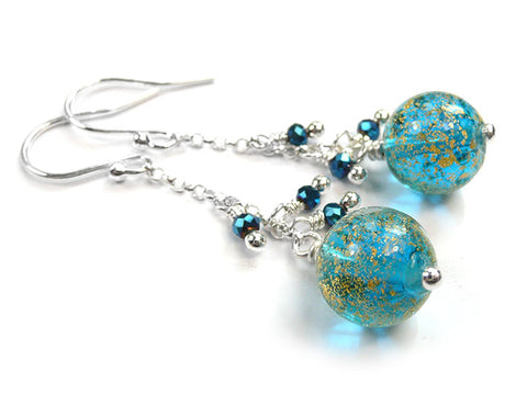 Murano Glass Bella Earrings - Teal Gold