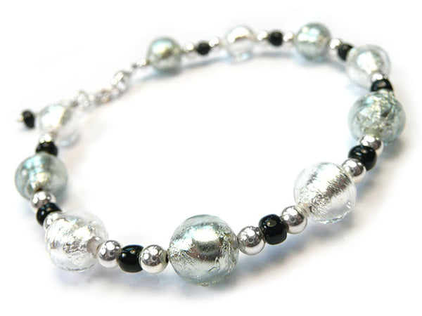 Murano Glass Bracelet - Black Diamond and Crystal