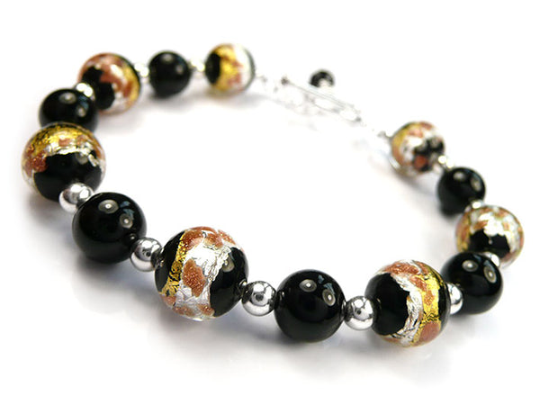 Murano Glass Bracelet - Black Treasure