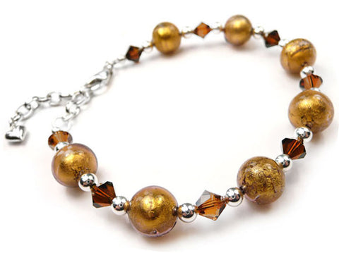 Murano Glass Bracelet - Chocolate