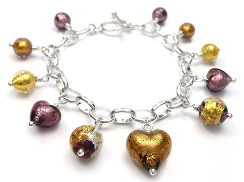 Murano Glass Bracelet - Chocolate Amethyst Charm