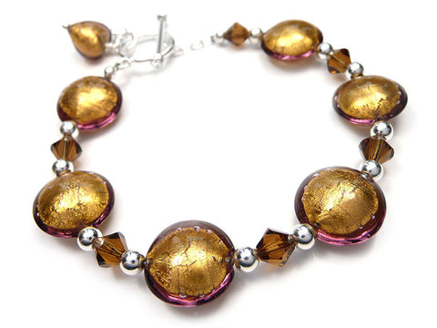 Murano Glass Bracelet - Chocolate Lentil