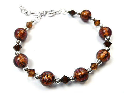 Murano Glass Bracelet - Dark Chocolate