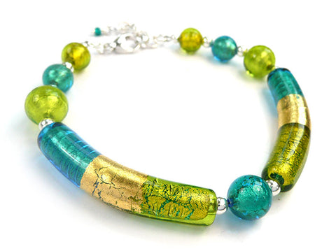 Murano Glass Bracelet - Kingfisher and Lime