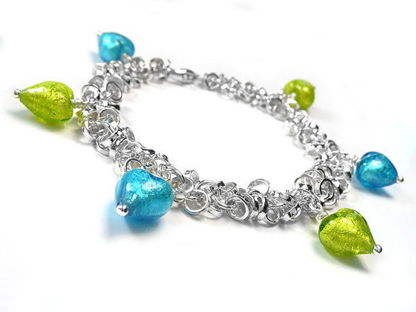 Murano Glass Bracelet - Multi-Link Lime and Turquoise