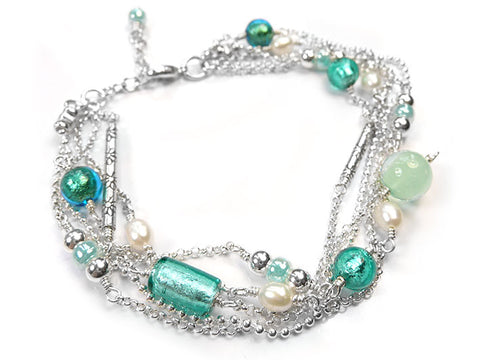 Murano Glass Bracelet - Multi-Strand Teal