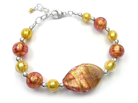 Murano Glass Bracelet - Peach Melba