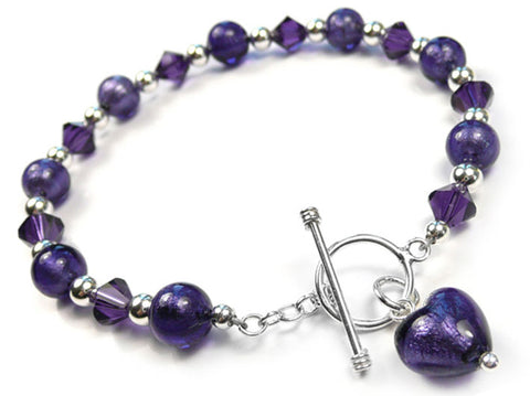 Murano Glass Bracelet - Purple Velvet