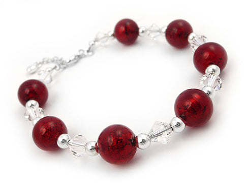 Murano Glass Bracelet - Ruby