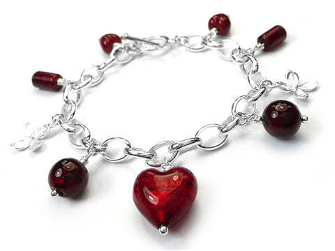 Murano Glass Bracelet - Ruby Charm