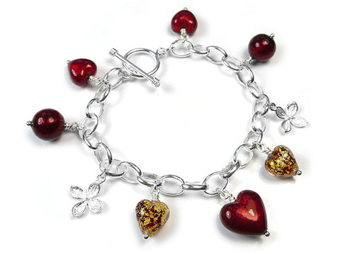 Murano Glass Bracelet - Ruby Gold Charm