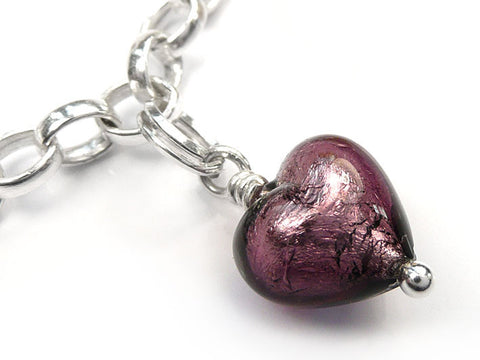 Murano Glass Charms - Heart Amethyst
