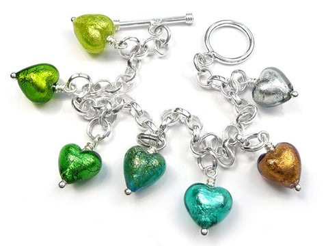 Murano Glass Charms - Heart Green Tones