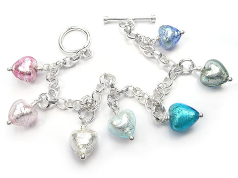 Murano Glass Charms - Heart Pastel Tones