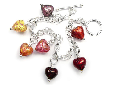 Murano Glass Charms - Heart Warm Tones
