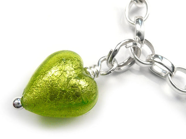 Murano Glass Charms - Heart Lime