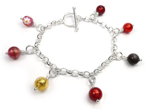 Murano Glass Charms - Round Warm Tones