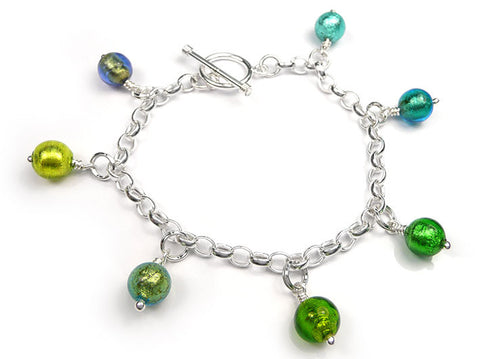 Murano Glass Charms - Round Green Tones