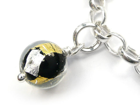 Murano Glass Charms - Round Midnight