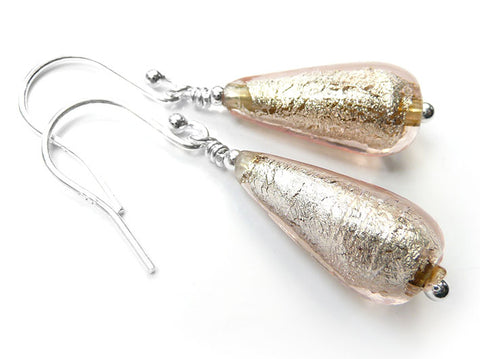 Murano Glass Drop Earrings - Champagne
