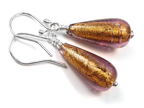 Murano Glass Drop Earrings - Chocolate