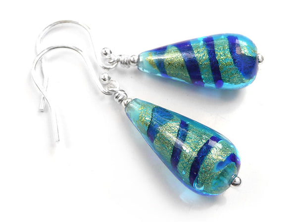 Murano Glass Drop Earrings - Turquoise Gold