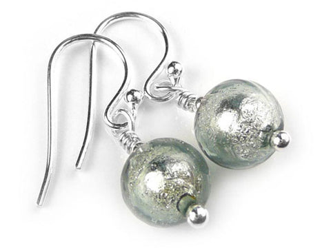 Murano Glass Earrings - Black Diamond