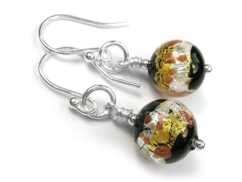 Murano Glass Earrings - Black Treasure