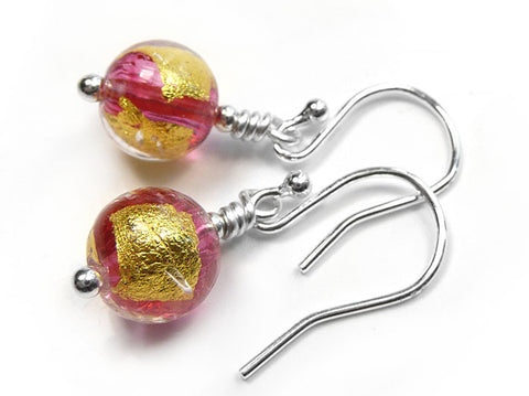 Murano Glass Earrings - Carmine Pink