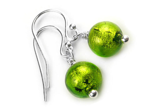 Murano Glass Earrings - Chartreuse
