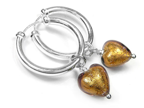 Murano Glass Earrings - Chocolate Hoops