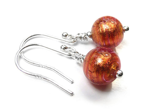Murano Glass Earrings - Copper