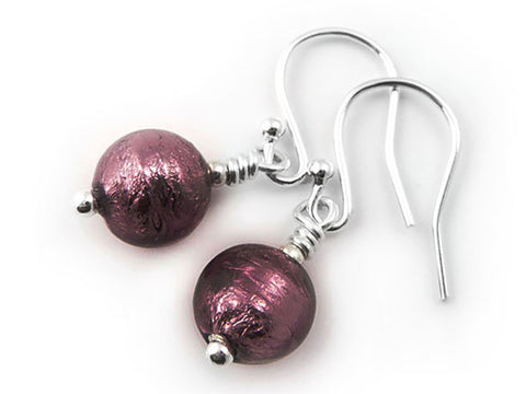 Murano Glass Earrings - Dark Amethyst