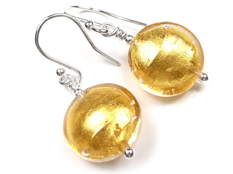 Murano Glass Earrings - Gold Lentil