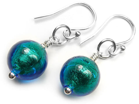 Murano Glass Earrings - Kingfisher