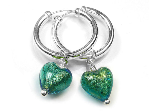Murano Glass Earrings - Kingfisher Hoops