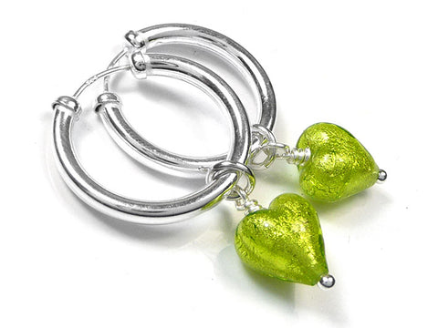Murano Glass Earrings - Lime Hoops