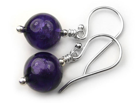 Murano Glass Earrings - Purple Velvet