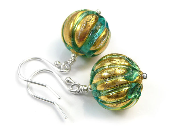 Murano Glass Earrings - Ribbed Aqua Verde