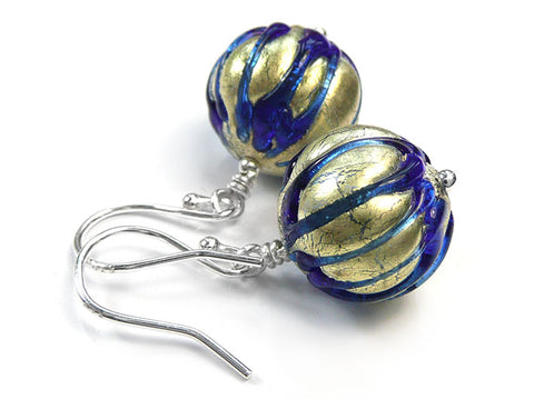 Murano Glass Earrings - Ribbed Electric